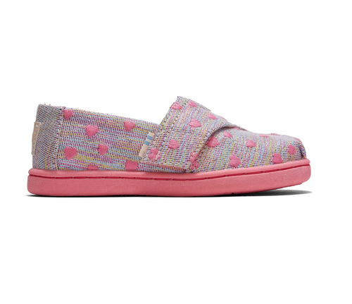 Pink Multi Heartsy Twill Glimmer Tiny TOMS Classic