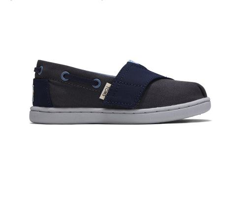 Forged Iron Grey & Navy Tiny TOMS Bimini Slip-ons