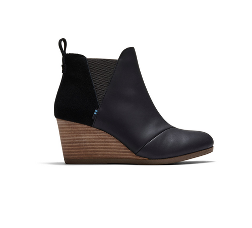 Black Leather and Suede Women's Kelsey Booties
