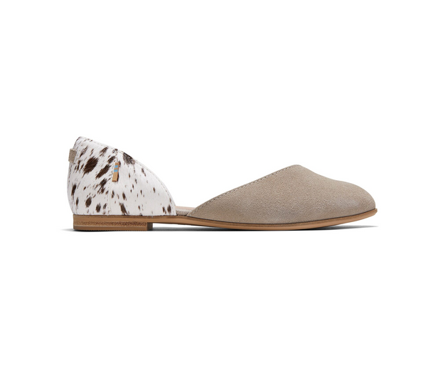 Cobblestone Suede and Spotted Cow Hair Women's Julie D'Orsay Flats
