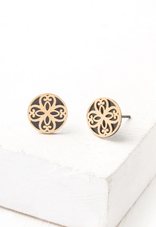 Maile Black & Gold Stud Earrings