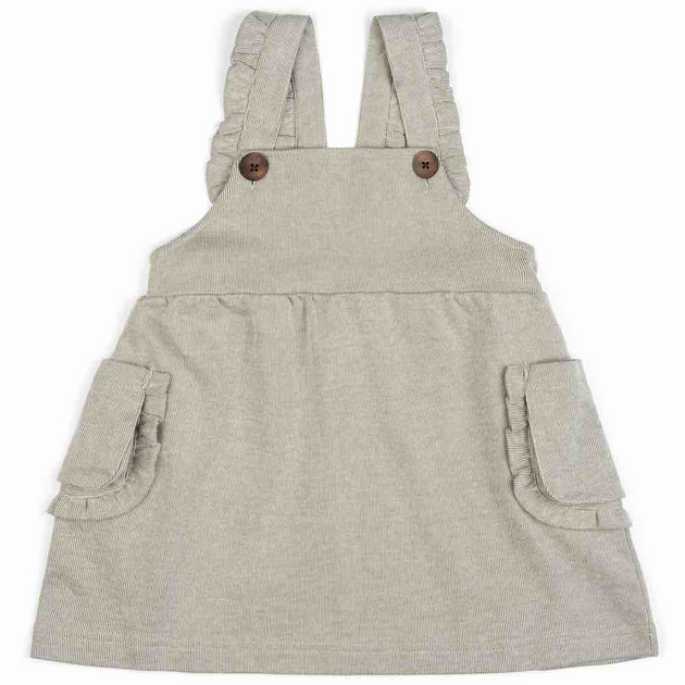 Organic Baby Dress Overall in Grey Pinstripe
