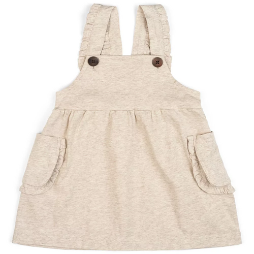 Organic Baby Dress Overall in Heatherd Oatmeal