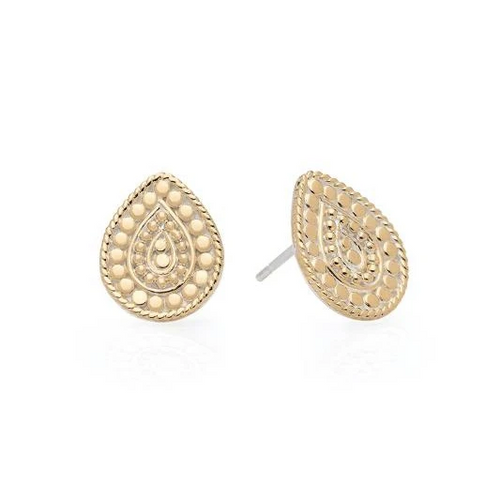 Gold Beaded Teardrop Stud Earring