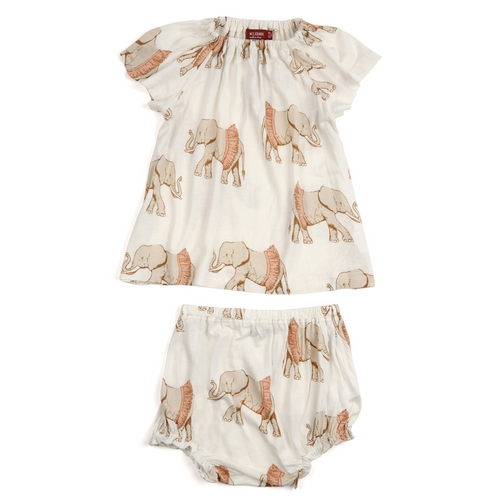 Bamboo Dress and Bloomer Set in Tutu Elephants
