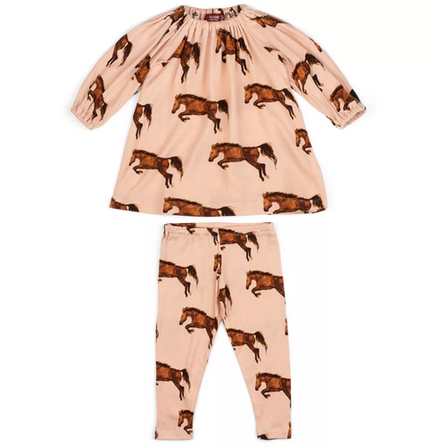 Dress & Legging Set in Pink Horses