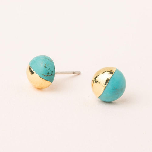 Dipped Stone Stud in Turquoise/Gold