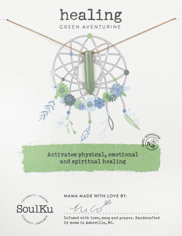 Dream Catcher Necklace in Green Aveturine - Healing