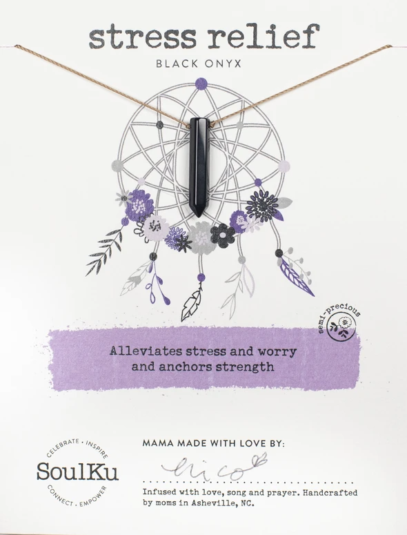 Dream Catcher Necklace in Black Oynx - Stress Relief
