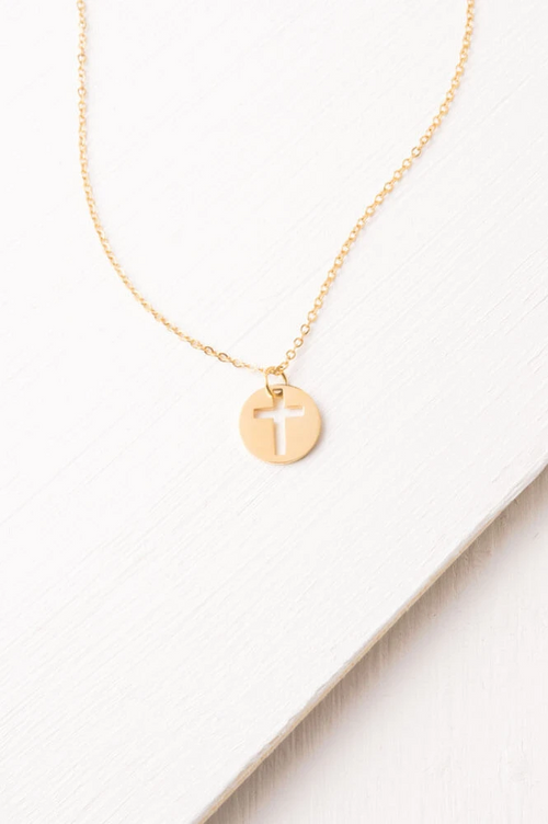 Carolyn Gold Cross Cutout Necklace