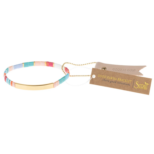 Good Karma Miyuki Bracelet | Good As Gold - Aqua Multi/Gold