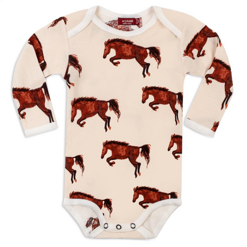 Long Sleeve Onesie in Natural Horses