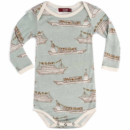 Long Sleeve Onesie in Blue Ships