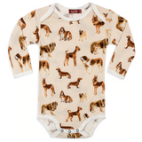 Long Sleeve Onesie in Natural Dogs