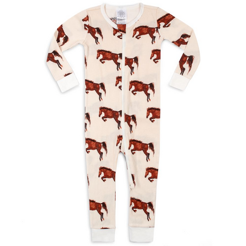 Organic Zipper Pajamas in Natural Horses