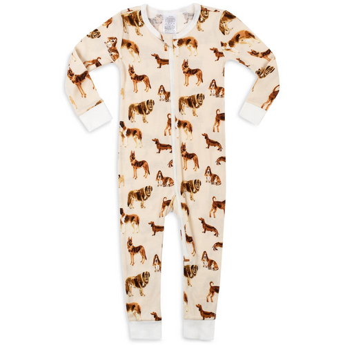 Organic Zipper Pajamas in Natural Dogs