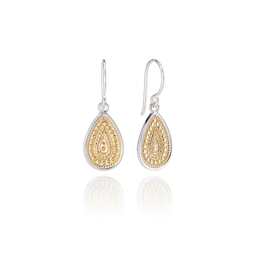 Gold Beaded Teardrop Earring