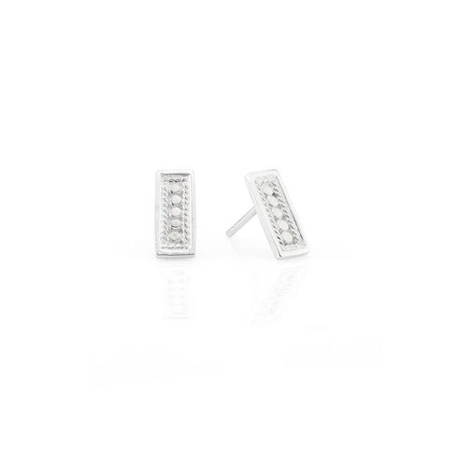Small Silver Bar Stud Earrings
