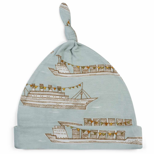 Knotted Hat in Blue Ships