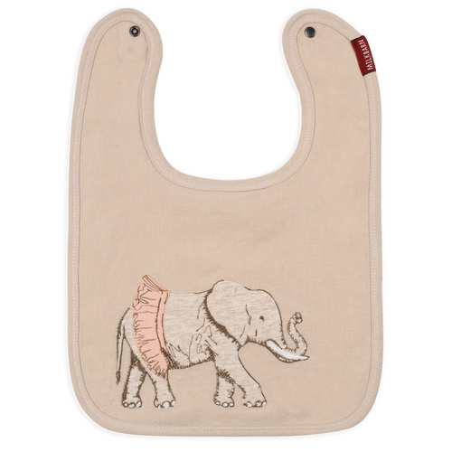 Linen Tutu Elephant Applique Bib