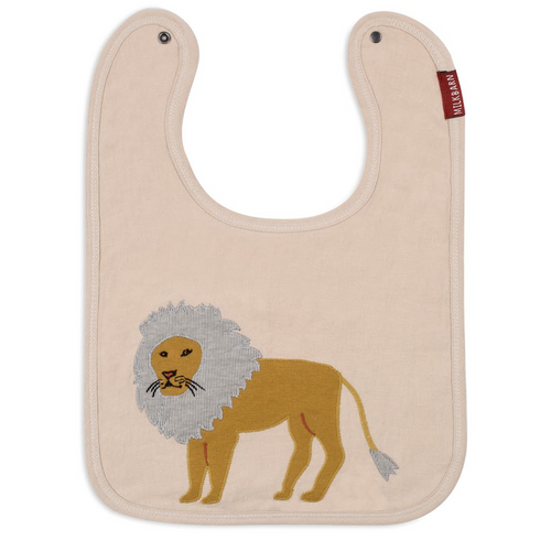 Linen Lion Applique Bib
