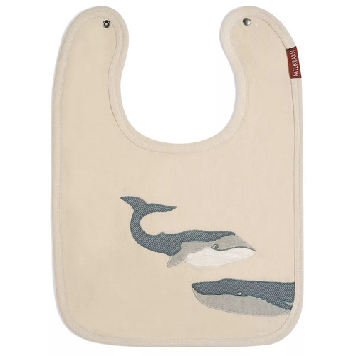 Linen Whale Applique Bib