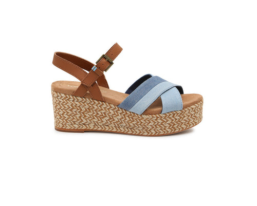 Two Tone Denim Women's Willow Espadrille Wedges