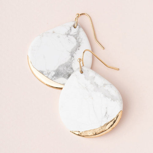 Stone Dipped Teardrop Earring in Howlite/Gold