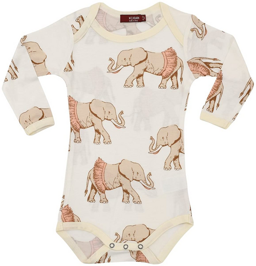 Long Sleeve Onesie in Tutu Elephants