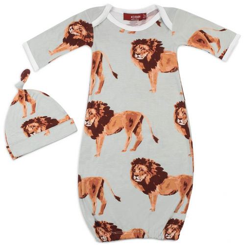 Bamboo Newborn Gown & Hat Set in Lions