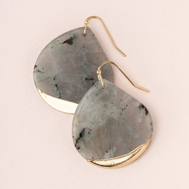 Stone Dipped Teardrop Earring in Labradorite/Gold