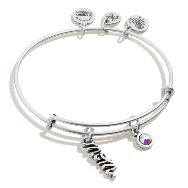 Mom Duo Charm Bangle in Silver
