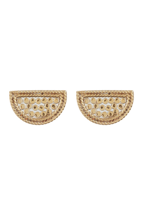 Gold Half Moon Stud Earrings