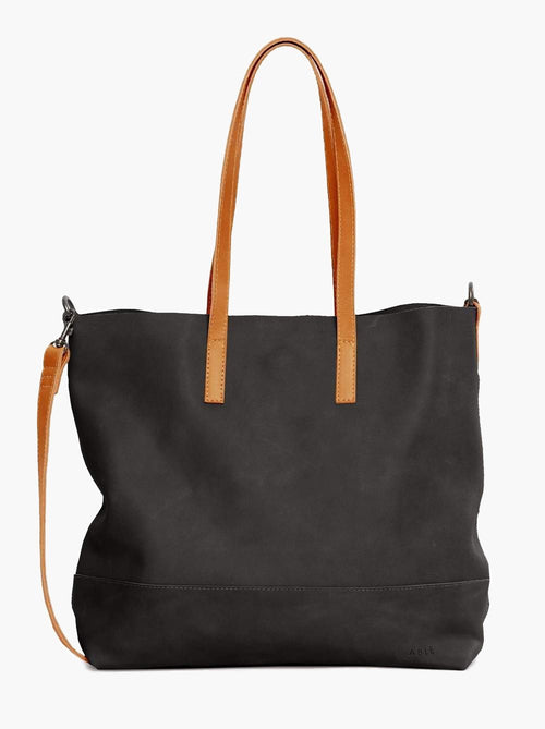 Abera Crossbody Tote in Black/Cognac