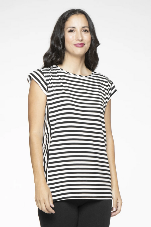 Andi Top in Black & White Stripe