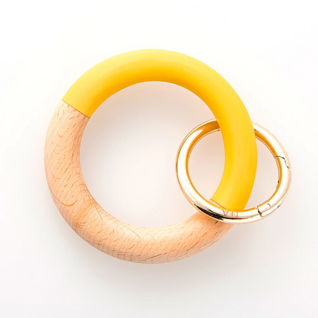 Yellow Resin & Wood Bangle Key Ring