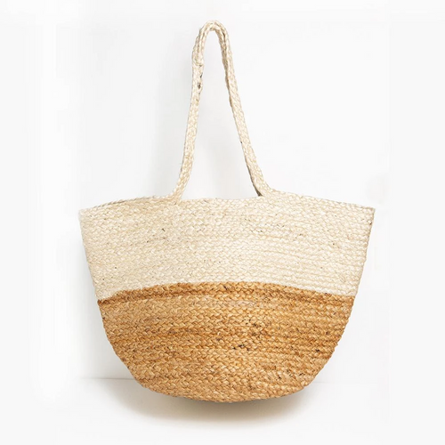 Natural & White Color Block Jute Tote
