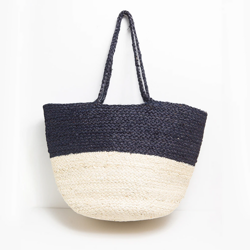 Black & White Color Block Jute Tote