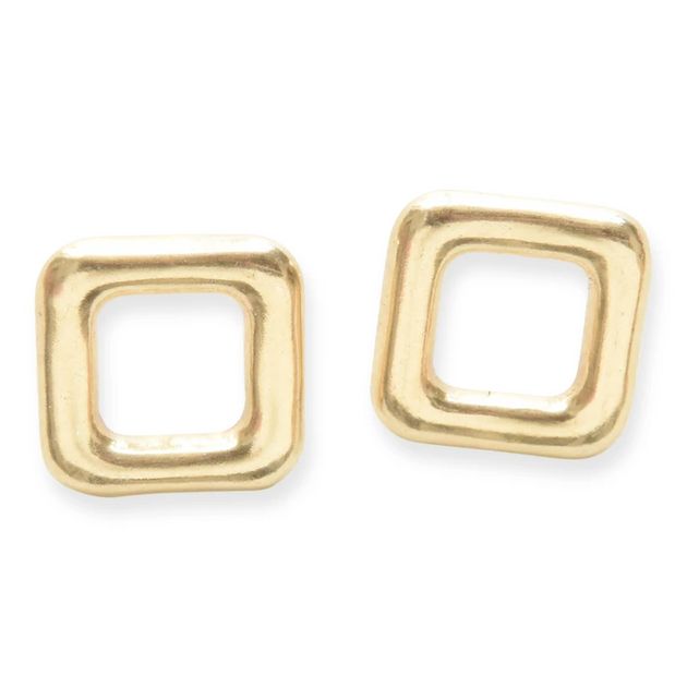 Small Brass Square Post Earrings