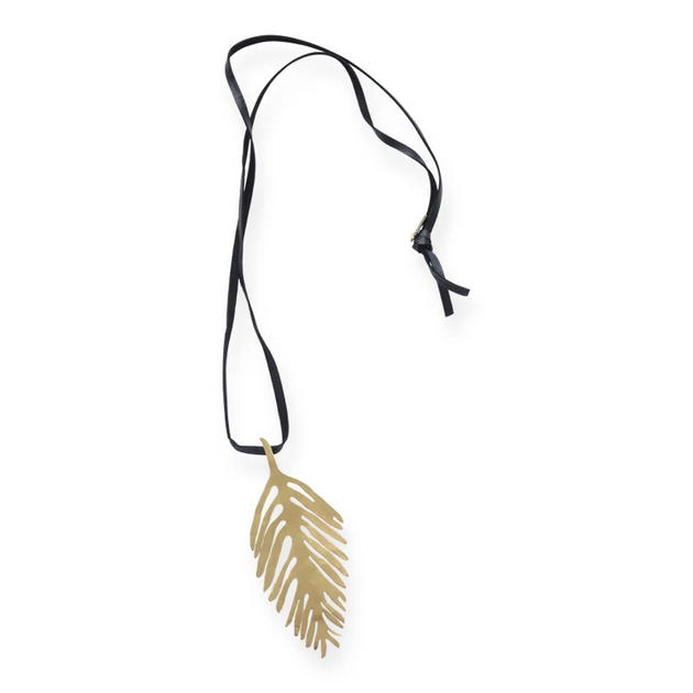 Brass Palm Leaf Necklace