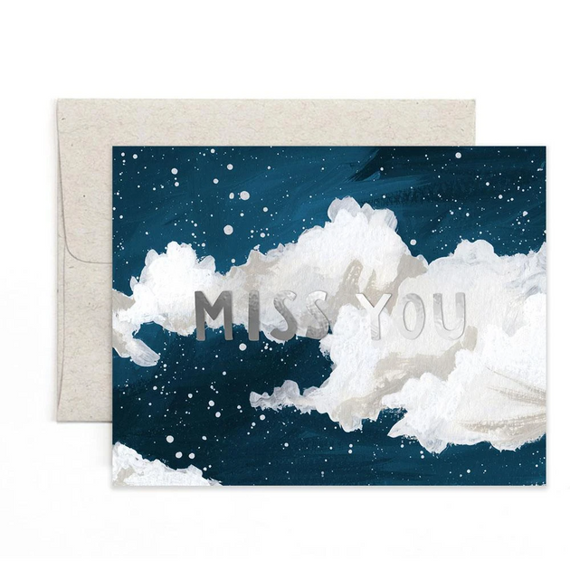 Miss You Clouds Greeting Card