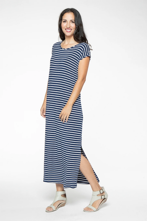 Charlotte Maxi Dress in Navy & White Stripe