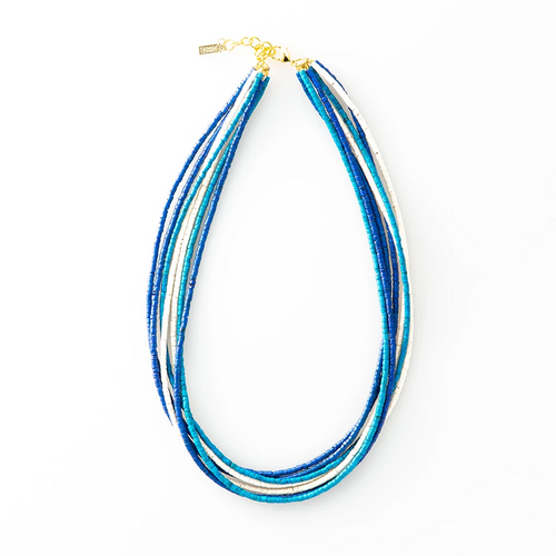 Lapis and Azure Coconut 7 Strand Necklace