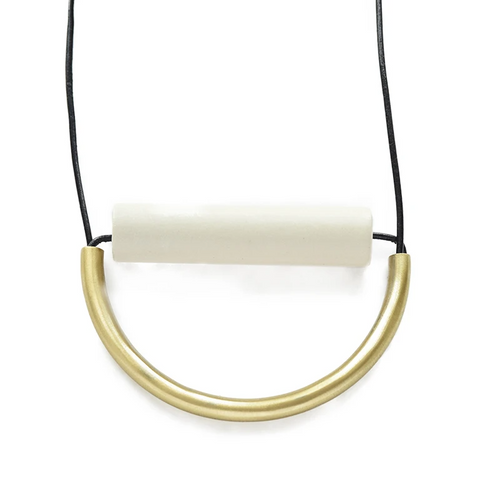 Ivory Ceramic and Brass Necklace on Leather Cord