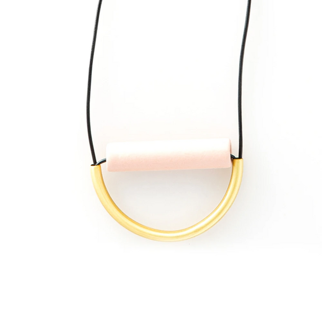 Blush Ceramic and Brass Necklace on Leather Cord