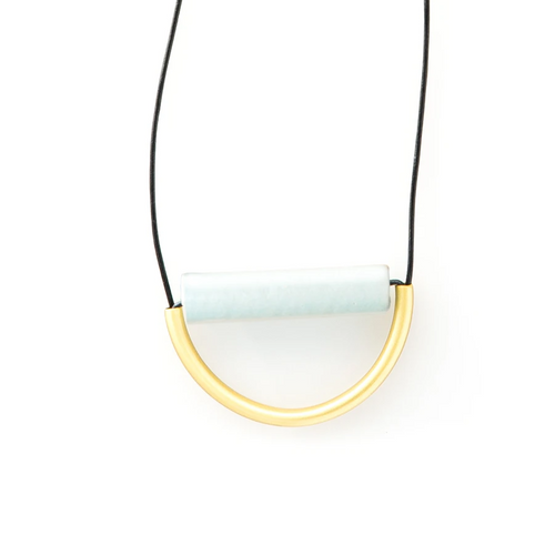 Sky Ceramic and Brass Necklace on Leather Cord
