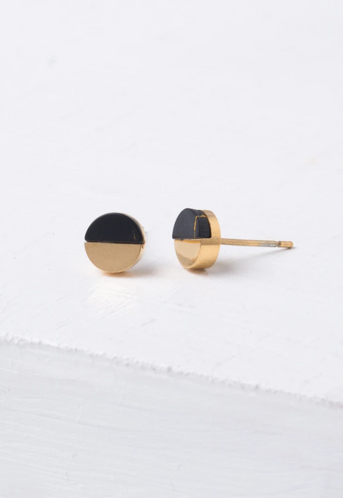 Dixie Black & Gold Circular Stud Earrings