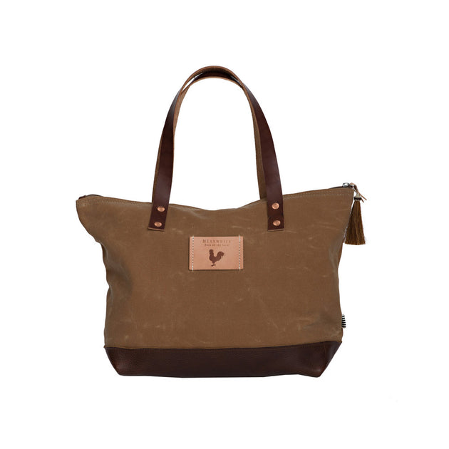 Field Tan Wax Canvas Day Tote with Leather Bottom and Zipper