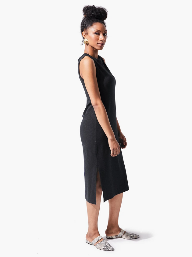 Shilpa Midi Tank Dress in Black