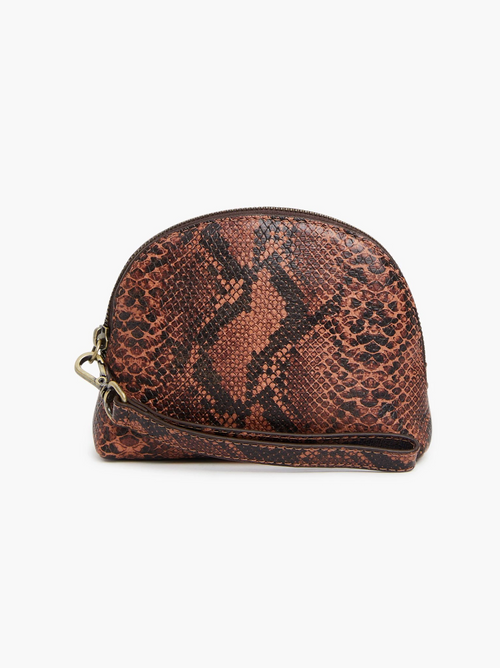 Marisol Wristlet in Saddle Snake